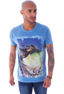 Camiseta Bossa Decote Canoa Skate Bikini Azul