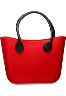 Bolsa Silicone Maxi Bicolor Vermelha Com Alça Preta Fixada E Sem Fecho