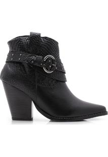 Bota Happy Walk Country Croco Fivela Preto - Preto - Feminino - Dafiti