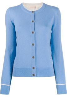 Tory Burch Cardigan Com Botões Monogramados - Azul