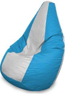 Puff Perão Em Courino Azul E Branco
