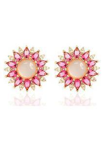 Brinco Soloyou Flor Cabochão Semijoia Em Ouro Rosé 18K Com Zircônia Branca E Cristal Rosa Safira