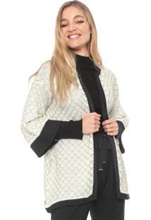 Kimono Maria Filó Tricot Colmeia Off-White/Dourada