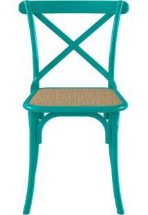 Cadeira Katrina Tubolar Verde Sala Jantar Cozinha Assento Rattan