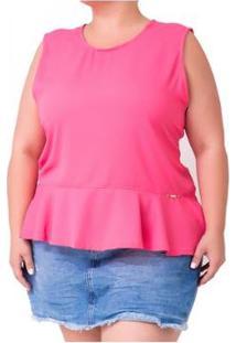 Regata Confidencial Extra Plus Size Confidencial Extra Peplum Crepe - Feminino-Rosa