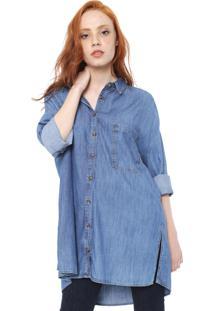 Camisa Jeans Colcci Bolso Azul