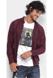 Camisa Reserva Fit Mesclada Masculina - Masculino-Bordô