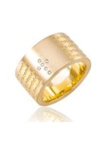 Anel Oracao Pai Nosso Cruz De Diamantes Amarelo - 17