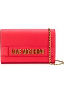 Love Moschino Bolsa Transversal Com Placa De Logo - Vermelho
