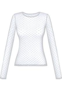 Blusa Duloren So Chic Poá Feminina - Feminino-Branco