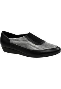Sapato Anabela Em Couro Com Recortes- Preto & Cinza-Usaflex