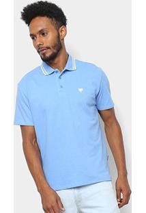 Camisa Polo Cavalera Básica Bordado Masculina - Masculino-Azul Claro
