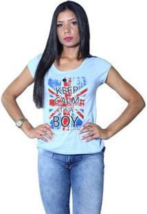 Camiseta Heide Ribeiro Keep Calm It'S A Boy Feminina - Feminino-Azul Claro