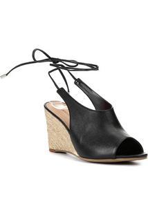 Sandália Anabela Shoestock Corda Couro Feminina - Feminino-Preto
