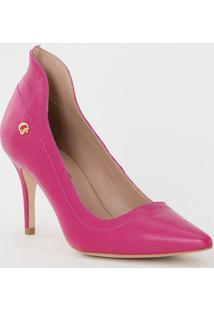 Scarpin Em Couro Com Pespontos- Pink- Salto: 8Cmcarmen Steffens