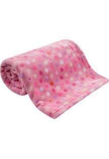 Cobertor Beb㪠Microfibra Flannel Camesa Rosa Poa - Rosa - Dafiti