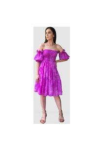 Vestido Hora De Diva Curto Ciganinha Tie Dye Roxo
