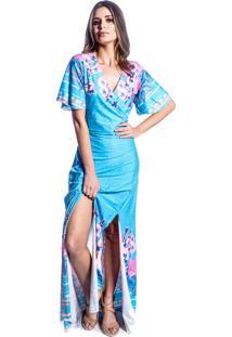 Vestido Carbella Longo Fenda Dupla Estampado Azul Céu