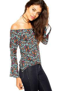 Blusa Ciganinha Fiveblu Floral Preta