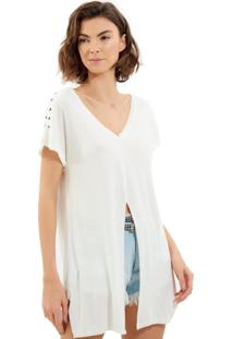 Camiseta John John Shoulder Malha Off White Feminina (Off White, Gg)