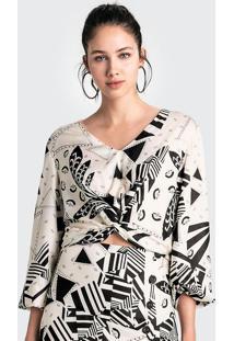 Blusa Estampada Em Tecido De Viscose Com Transpasse