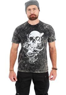 Camiseta Black Flag Skull, Snake N Guns Cinza