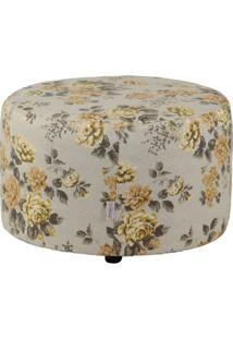 Puff Redondo Pastilha Jacguard Floral Amarelo I