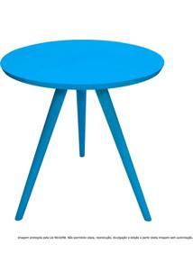 Mesa Lateral De Canto Tripé Média Laqueada Azul Turquesa