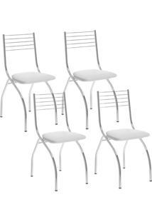 Cadeira 146 Cromada 04 Unidades Branca Carraro