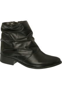 Ankle Boot Em Couro Preto Com Cano Enrugado