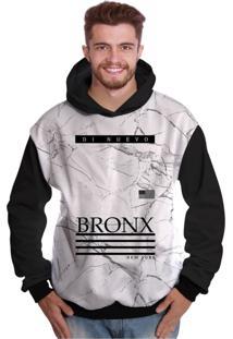 Blusa De Moletom Di Nuevo New York Bronx Branca Preto