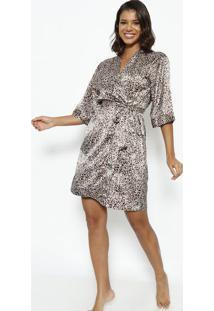 Robe Curto Com Amarração- Bege & Marromfruit De La Passion