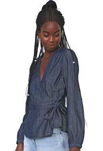 Blusa Jeans Gap Blouson Sleeve Wrap Top Azul-Marinho - Kanui