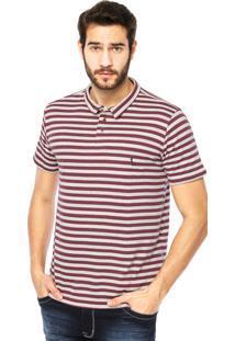Camisa Polo Manga Curta Reserva Listras Botões Vinho/Off-White