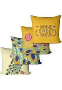 Kit Com 4 Capas Para Almofadas Decorativas Home Sweet 45X45Cm - Laranja - Dafiti