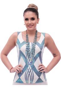 Regata Feminina Estampa Geométrica Exclusiva Azul Com Penas De Pavão Decote Redondo