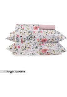 Jogo De Cama Floral Em Malha Queen Size- Branco & Rosa Caltenburg