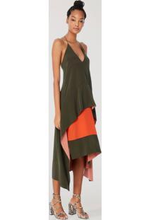Vestido Midi Liso Tricolor Decote V Marrom Pinho - 44