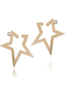 Brinco Stardust Mini Amarelo C/ Diamante Ttlb - U