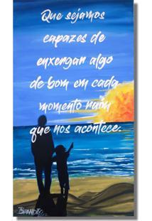 Quadro Original Pintado A Mão E Com Frase Motivacional Azul