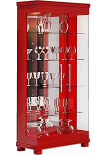 Cristaleira 02 Portas De Vidro Cristal Vermelho Brilho - Imcal