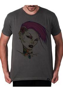 Camiseta Artseries Garota Punk Gótica Cinza
