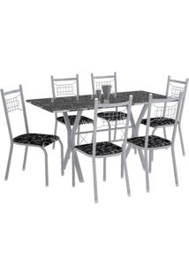 Conjunto De Mesa Miami Com 6 Cadeiras Lisboa Branco Prata E Preto Floral