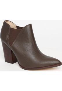 Ankle Boot Em Couro Texturizado- Marrom Escuro- Saltjorge Bischoff