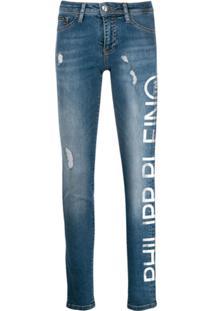 Philipp Plein Calça Jeans Com Logo - Azul