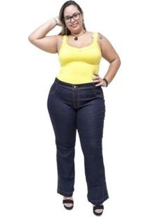 Calça Jeans Feminina Credencial Plus Size Flare Emillye - Feminino-Azul