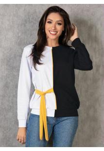 Casaco Branco E Preto Com Faixa Amarela