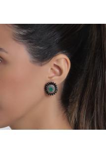 Brinco Rosa Pinhal Verde Esmeralda Cravejado Zircônias Negras Ródio Branco