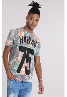 """Camiseta Estampada Floral """"Hawaii 75"""" Em Algodão + Sustentável Verde"""