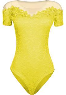 Body Outletdri Em Tule Rendado Amarelo